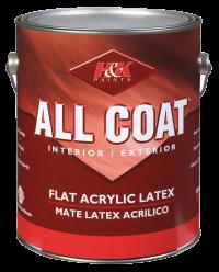 Краска для внутренних и наружных работ All Coat Flat Acrylic Latex